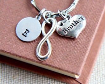 Brother Keychain, Brother Keyring, Infinity Keychain, Infinity Brothers, Personalized Initial Keychain,Heart Brother Keyring, Brother's gift