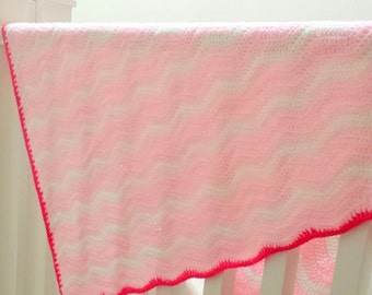 Pink and White Baby Blanket, Crochet Afghan With Ripple Wave Design, Newborn or Toddler Baby Girl.