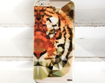 """Clear Plastic Case Cover for iPhone 6 (4.7"""") GeometricTiger"""