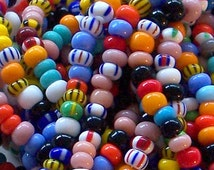 Vintage Style Opaques and Stripes Bead Mix 6/0 Czech Seed Beads, Preciosa 4mm Glass Beads, E Beads Tribal Beads