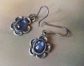 Vintage Solid Sterling Silver BRAZIL Natural Royal Blue Kyanite Gemstone Dangle Earrings