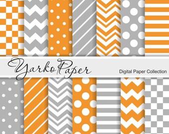 Orange And Grey Digital Paper Pack, Chevron, Polka Dot, Stripes, Gray, Basic Geometric Paper, Digital Background,14 Sheets -Instant Download