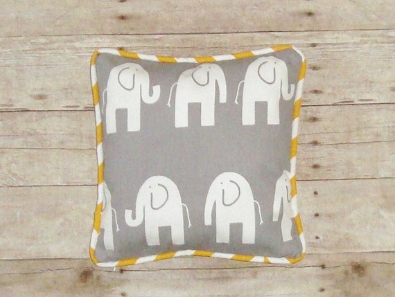 Grey Elephant Pillow  - cover - yellow stripe piping - Grey and Yellow elephant - Grey Ele Pillow - cute elephant