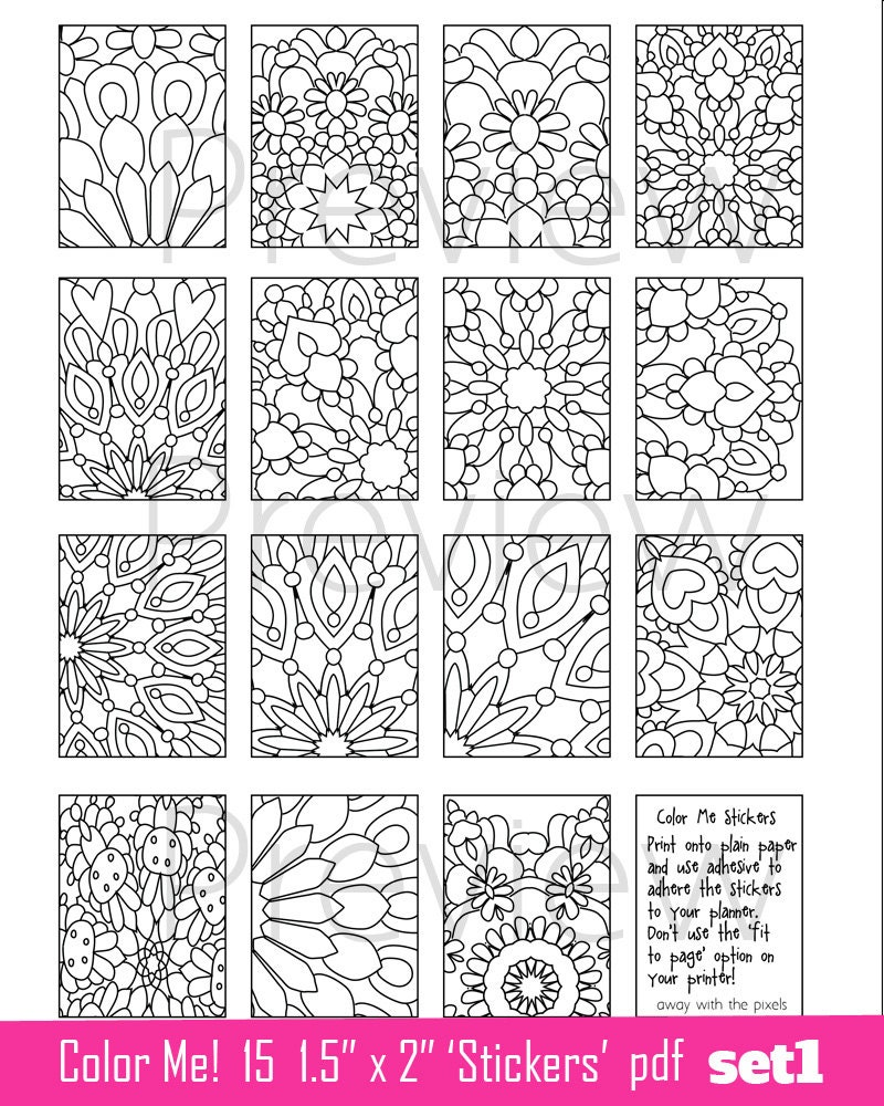 Coloring Page Stickers to Print 1.5 x 2 Images to