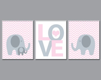 Baby Girl Nursery Pink and Grey Elephant Wall Art Print. Baby Girl Chevron Wall Art. Girls Bedroom Decor -N763,764,765-Unframed