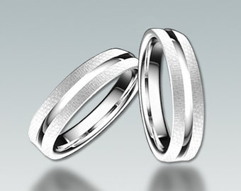9K Pair White Solid Gold  Wedding  Band 4mm-4mm