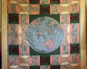 """Quilt """"Sewing Around the World"""", Blue, Mauve"""