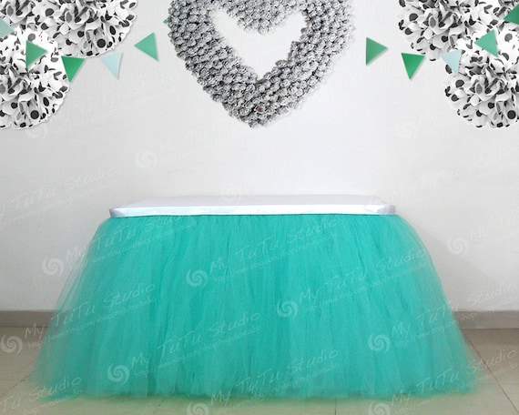 aqua blue tulle table tutu skirt for wedding by mytutustudio