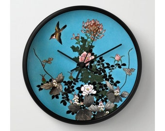 Exquisite Cloisonné Design Wall Clock / Lovely Bird & Floral Design / Image from Antique Japanese Cloisonné Charger Plate
