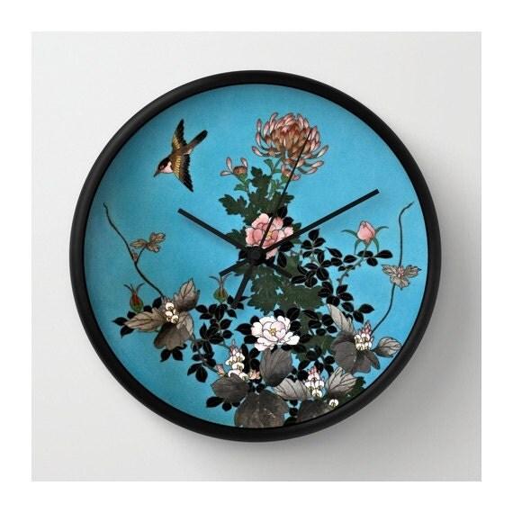 Wall Clock Floral Design : Exquisite cloisonn? design wall clock lovely bird floral