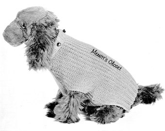 Dog Sweater Boston Terrier Size Vintage Knitting Pattern
