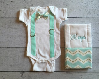 Baby Boy Bowtie Onesie with Suspenders with Burp Cloth, Create your Own!