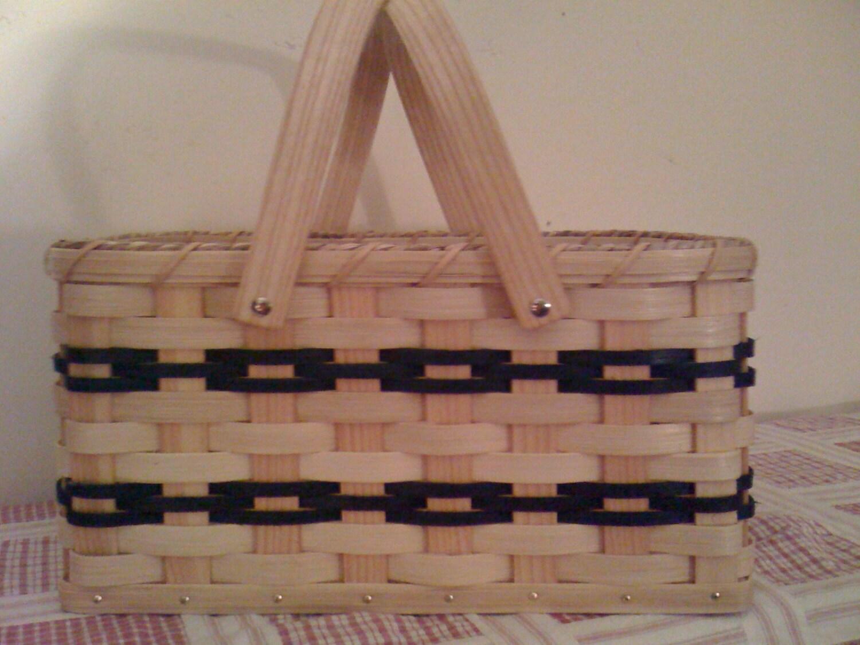 Handmade Market Baskets : Amish handmade woven reed market basket by