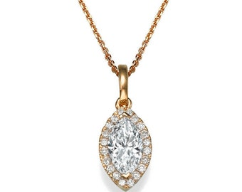 Vintage Moissanite Necklace, 14K Rose Gold Unique Jewelry, 0.65ct Forever One Moissanite Pendant Necklace, Bridal Jewelry