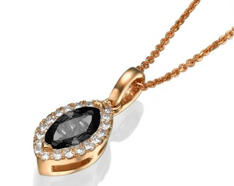 Black Diamond Necklace, 14K Rose Gold Pendant Necklace, 0.7ct Black Diamond Pendant, Vintage Jewelry, Bridal Jewelry, Marquise Diamond