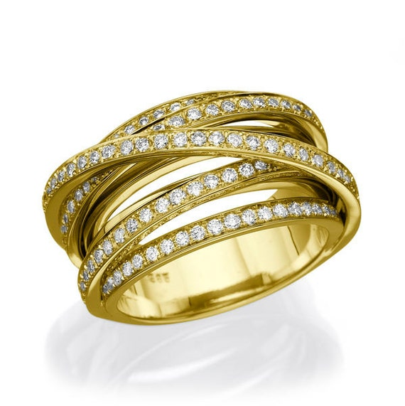 Multi Band Rolling Ring 14K Gold Wedding Band 15 TCW