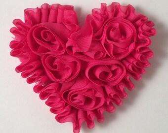 Set of 2 Hot Pink Chiffon Heart Applique