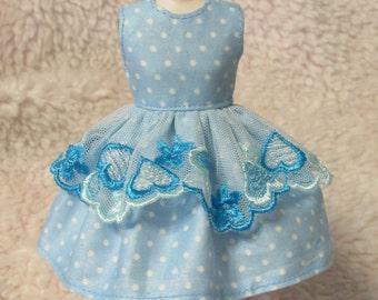 Blythe Doll Outfit White Dot Blue Lace Dress