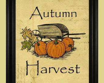 Autumn Harvest Print, Fall Pumpkins Illustration, Rustic Wheelbarrow Drawing, Pumpkin Patch Sign