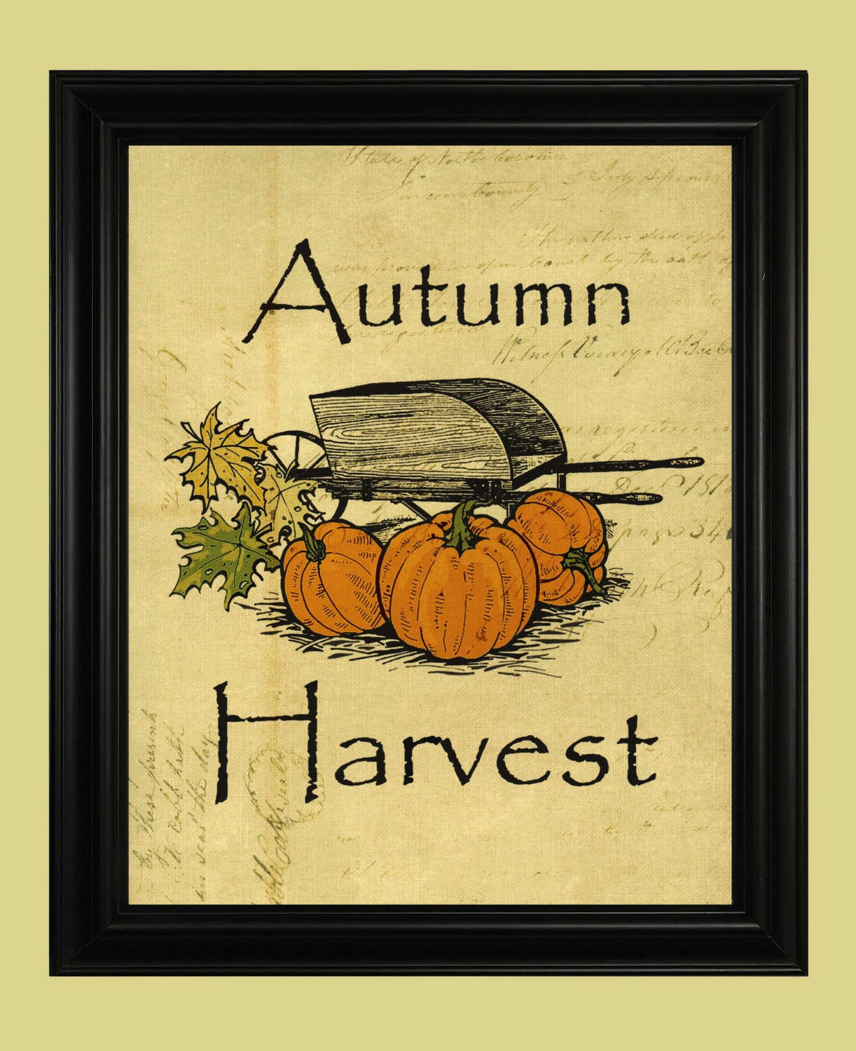 Autumn Harvest Print Fall Pumpkins Illustration Rustic