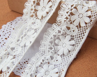 Cotton Embroidery  Lace Hollow out Lace Trim  Water soluble lace Retro Design Lace 6cm wide
