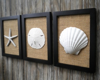 Cottage Chic Set Of Beach Decor Wall Art Bathroom Decor Beach House Decor