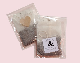 100 Tea favors -  wedding / baby shower favors with scalloped square design - set of 100