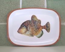 Trigger fish platter. Fun nautical gift. fish watercolor, fish lovers gift. food platter, art platter, brown, melamine tray