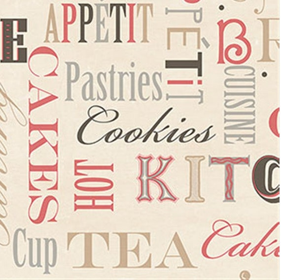 Bon appetit muted red off white kitchen wallpaper cookies for White kitchen wallpaper