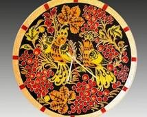Khokhloma Glass Clock, glass painting, Russian style, ornament, Slavic, traditional painting, painted glass, glass art, black, folk, gift