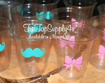 24 mustache & Bow 10,12 or 16 oz. clear disposable cup. Baby Shower, Gender reveal party, Birthday party, bow, stache, sprinkle. B-65 B-224