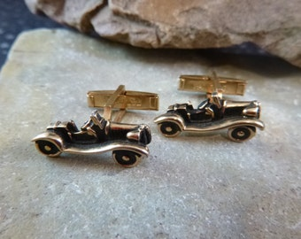 Car Lover Antique Style Roadster Vintage Car Cuff Links / Cufflinks