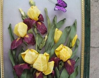 "Silk ribbon embroidery ""Irises """