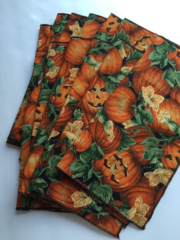 Halloween pumpkins cloth reusable napkins set by for Halloween cloth napkins