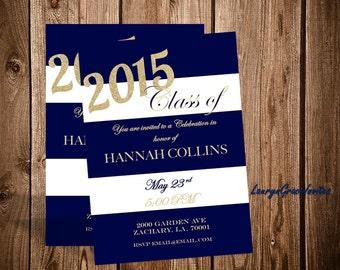 Graduation invitation navy blue white and gold, digital printable, diy