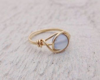 Gold ring, gold wire ring, blue stone ring, wire wrapped ring, gold ring, dainty gold ring, stone ring, blue gemstone ring, light blue ring
