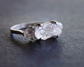RESERVED Handmade Raw Diamond Engagement Ring Rough Diamond Wedding Band Unique Gemstone Sterling Silver Promise Ring Size 6.5 Avello