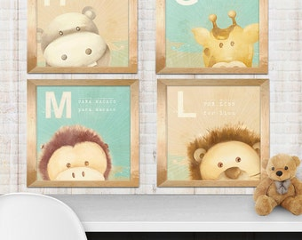 set of 4 art  prints, animals safari - monkey hippo lion giraffe- kids decor art print