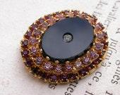 French vintage gold brooch  sold bronze crystal black glass cabochon  soft pink purple crystal flower