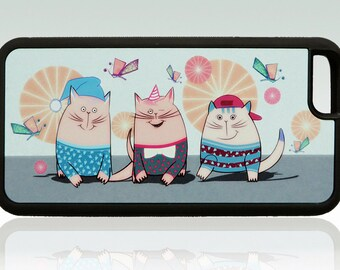 Funny cats iPhone 6 case, happy cats iPhone 6s cover, butterfly, cute, cool, unique