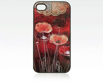 Poppies iPhone 4 case, iPhone 4s case, drawing red flowers iPhone 4 cover, iPhone 4s cover