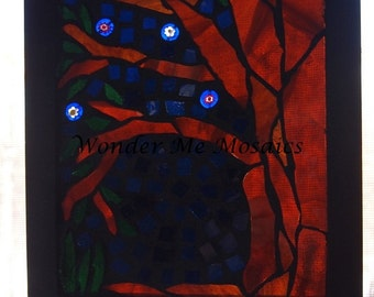 Stained Glass Mosaic on Glass - Night Scene with Tree