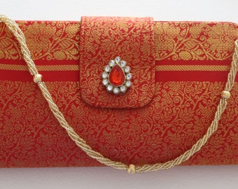 Saree Brocade Evening Bag Clutch Bag or Sling Bag in Beautiful Red Gold Brocade Silk Fabric