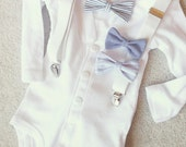 White Cardigan bowtie bodysuit onesie with white suspenders.. pick your bowtie...luncheon, christenings and baptisms or just anyday