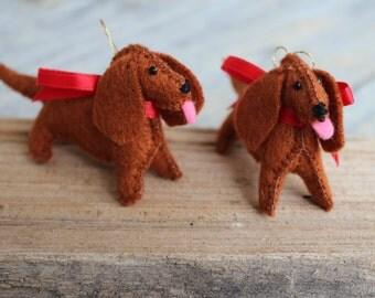 Dachshund Hand-sewn Felt Ornament, Dachshund Ornament, Dachshund Keepsake Memorial, Doxie Ornament, Dachshund Gift, Dog Ornament