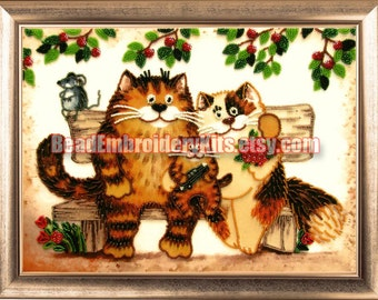 Cats Family DIY bead embroidery kit Housewarm Gift Idea Wall decor