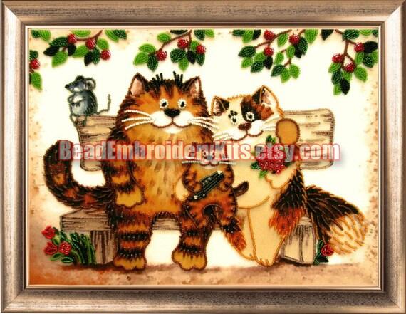 Cats Family DIY bead embroidery kit Housewarm Gift Idea Wall decor
