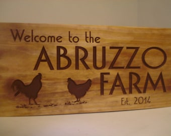 Personalized Carved Wooden Chicken and Rooster House Farm Ranch Signs Chicken Coop Hen House Wooden Carved Signs Benchmark Signs & Gifts #56