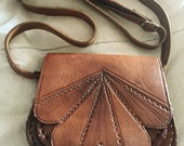 Stunning 1970's hippy boho leather messenger satchel bag