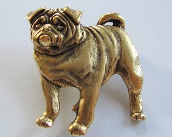 JJ Jonette Antique bronze Pug Brooch pin
